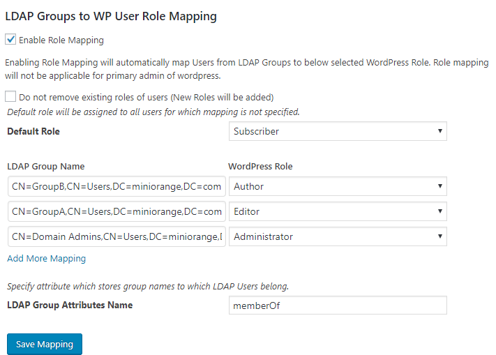 LDAP Authentication Role Mapping