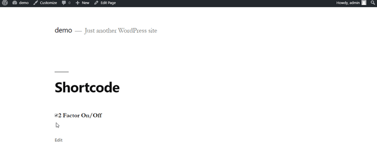 2fa-shortcode-on-webpage